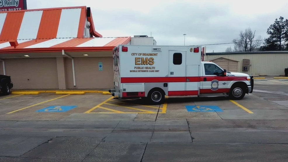 Beaumont EMS crew parks ambulance in handicap space in an