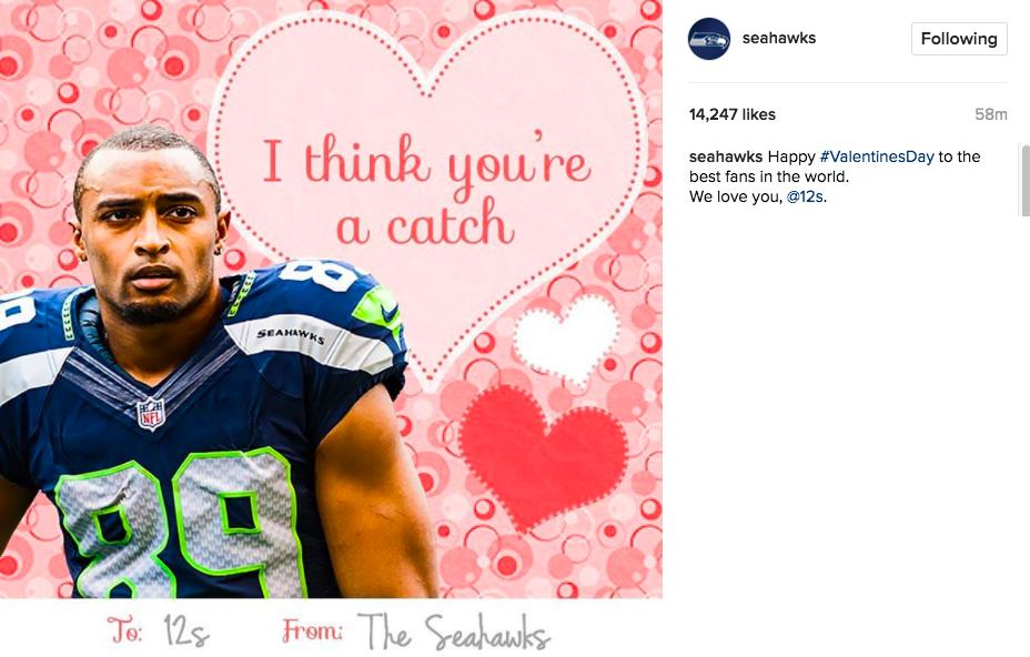 """Happy #ValentinesDay to the best fans in the world. WE loev you, @12s."" - Instagram @seahawks"