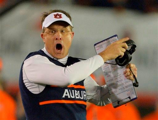 Auburn head coach Gus Malzahn reacts to a call during the first half of the NCAA BCS National Championship college football game against Florida State Monday, Jan. 6, 2014, in Pasadena, Calif.