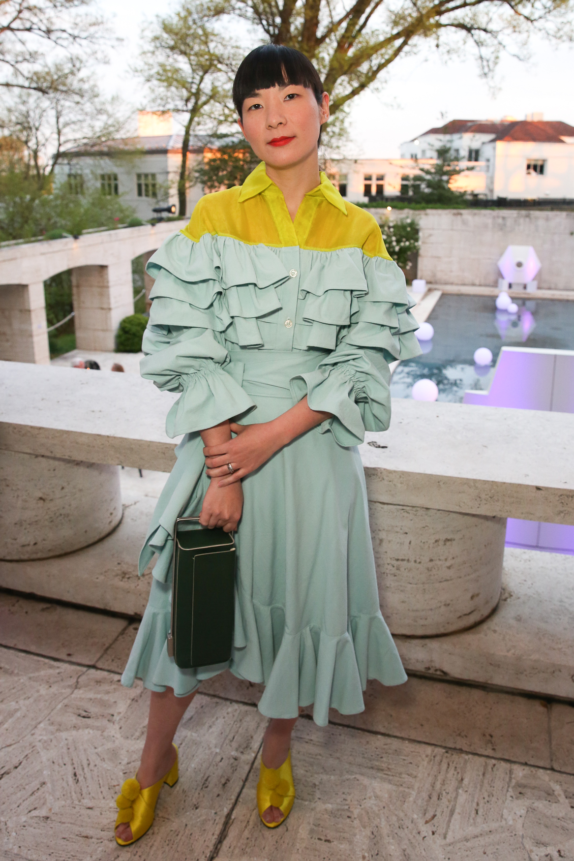 Monling Lee looked spot on and perfectly color blocked in this bright frock and coordinated shoes.{ }(Amanda Andrade-Rhoades/DC Refined)