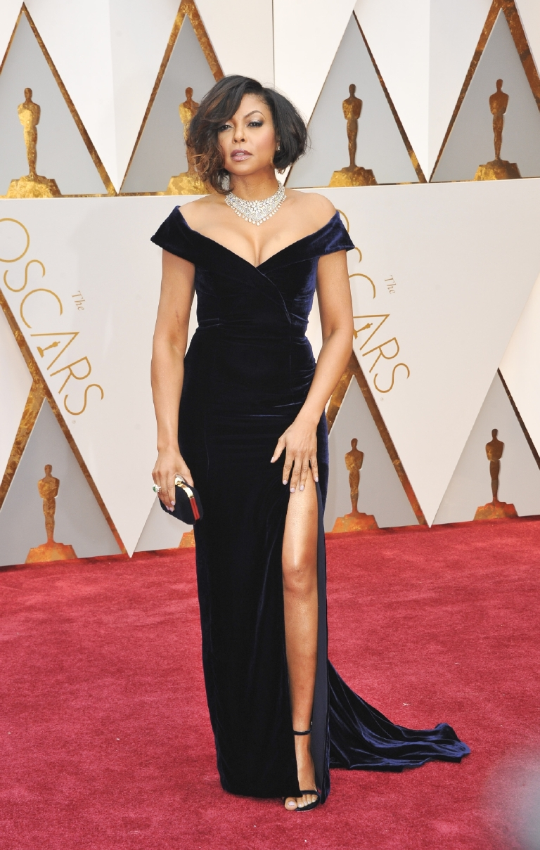 And speaking of favorite looks, Taraji crushed it here! She melds the sex-appeal of her empire character Cookie with the poise and confidence of her Hidden Figures portrayal of real-life hero Katherine Johnson. The navy blue velvet gown was a nod to old Hollywood glamour, while her tousled bob brought her into the 21st century.  (Image: Apega/WENN.com)