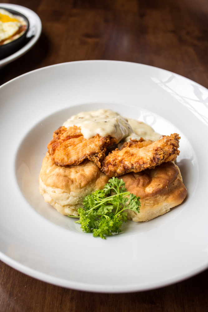 Country Chicken & Biscuits: buttermilk fried chicken and biscuits topped with house–made country gravy / Image: Catherine Viox // Published: 5.4.18