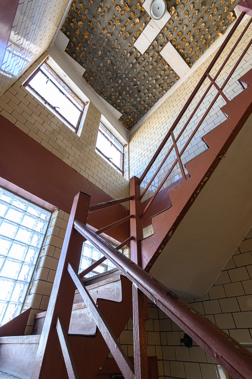 Glass block brightens the stairwells / Image: Phil Armstrong, Cincinnati Refined // Published: 10.4.19