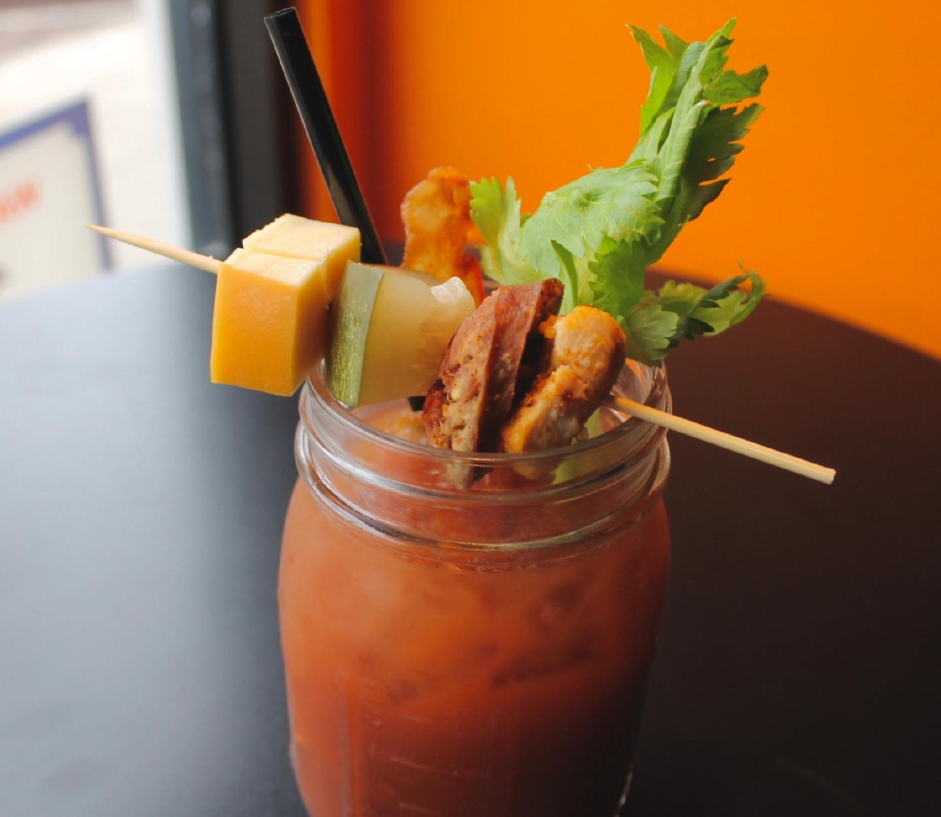 Effen Bloody: Effen cucumber vodka, housemade bloody mary blend, garnish of andouille sausage, gouda, pickle, Cajun chicken, bacon, and celery / Image: Rose Brewington // Published: 3.12.17
