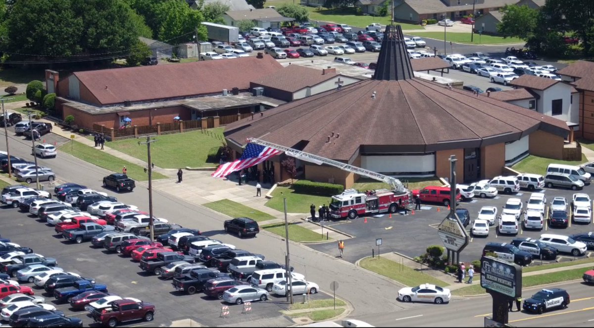 The funeral for Lt. Kevin Mainhart of the Yell County Sheriff's Office was held Monday afternoon at the Russellville Assembly of God Church. (KATV Sky7 Photo)
