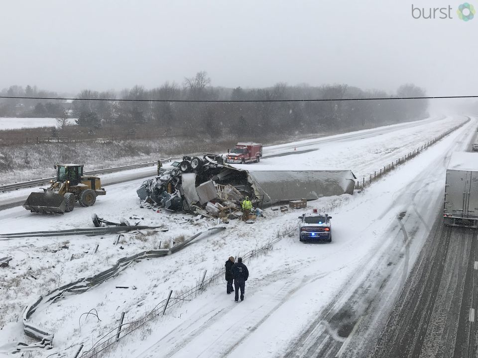 Emergency crews are on the scene of a major crash on Interstate 69 near exit 123 in Shiawassee County. (WEYI/WSMH)