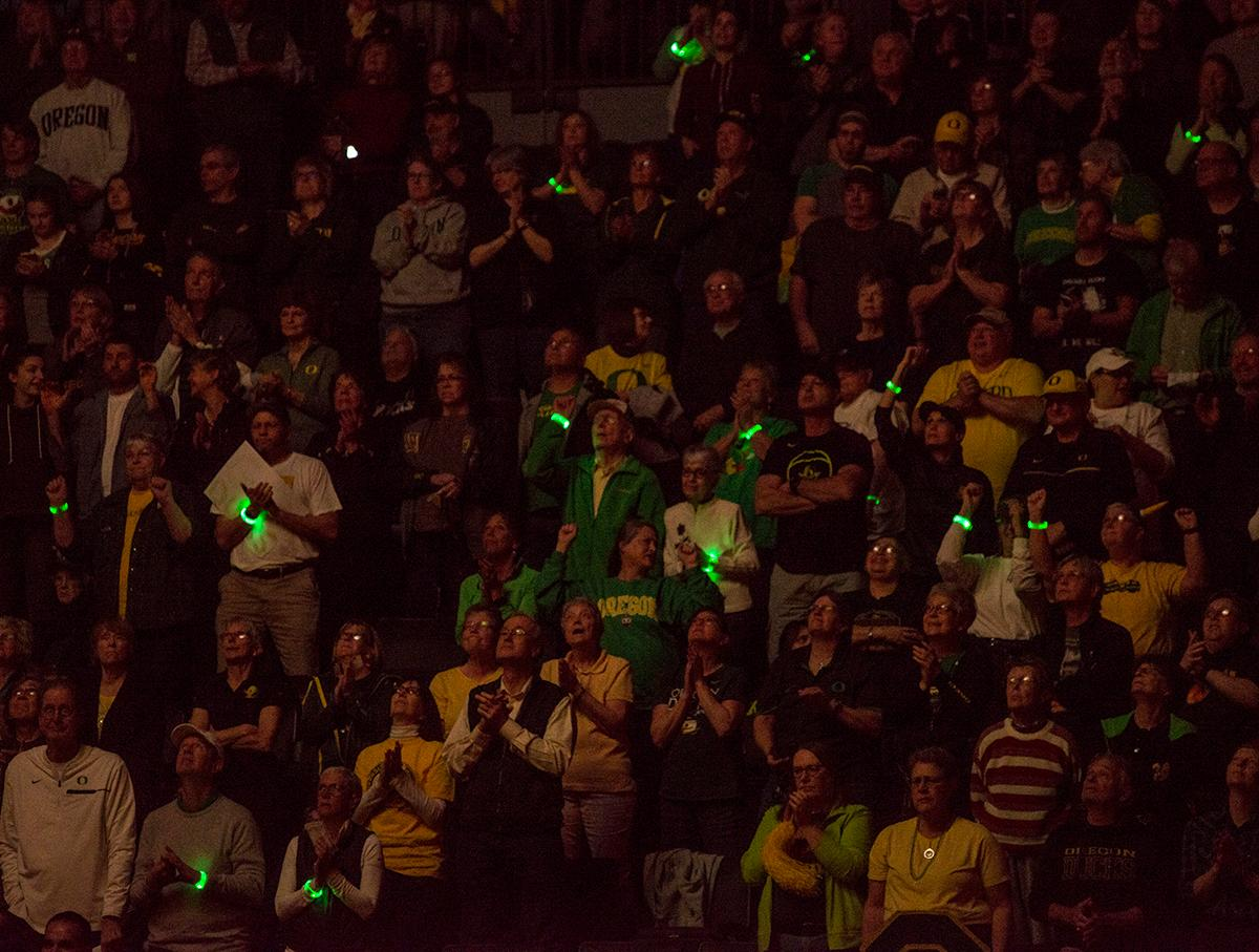The University of Oregon women's basketball fans welcome the Ducks to Matt Knight Arena for the game against the Stanford Cardinal. The Stanford Cardinal defeated the Oregon Ducks 78-65 on Sunday afternoon at Matthew Knight Arena. Stanford is now 10-2 in conference play and with this loss the Ducks drop to 10-2. Leading the Stanford Cardinal was Brittany McPhee with 33 points, Alanna Smith with 14 points, and Kiana Williams with 14 points. For the Ducks Sabrina Ionescu led with 22 points, Ruthy Hebard added 16 points, and Satou Sabally put in 14 points. Photo by Dan Morrison, Oregon News Lab