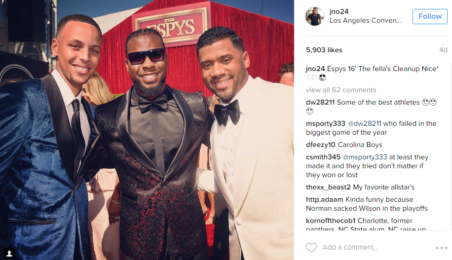 Oh you know, Josh Norman just hanging with Stephen Curry and Russell Wilson at the ESPYS... no biggie. (Image: @jno24 Instagram)