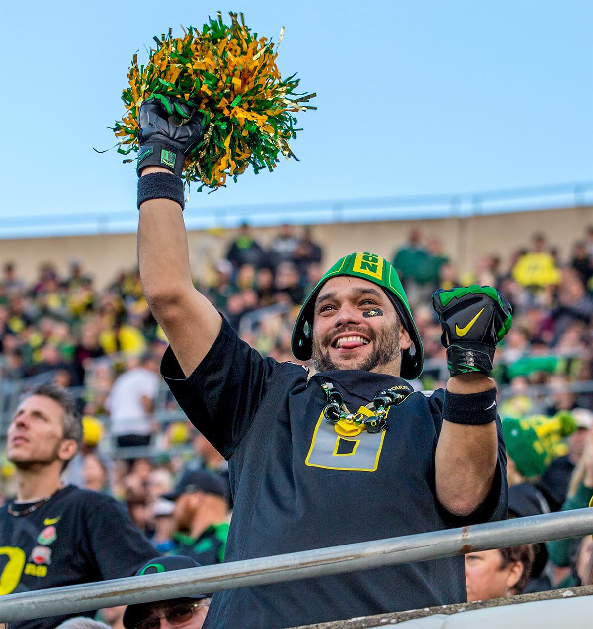 The Duck's fans had reason to celebrate as the Oregon Ducks broke their losing streak by defeating the ASU Sun Devils on Saturday 54-35. Photo by August Frank, Oregon News Lab