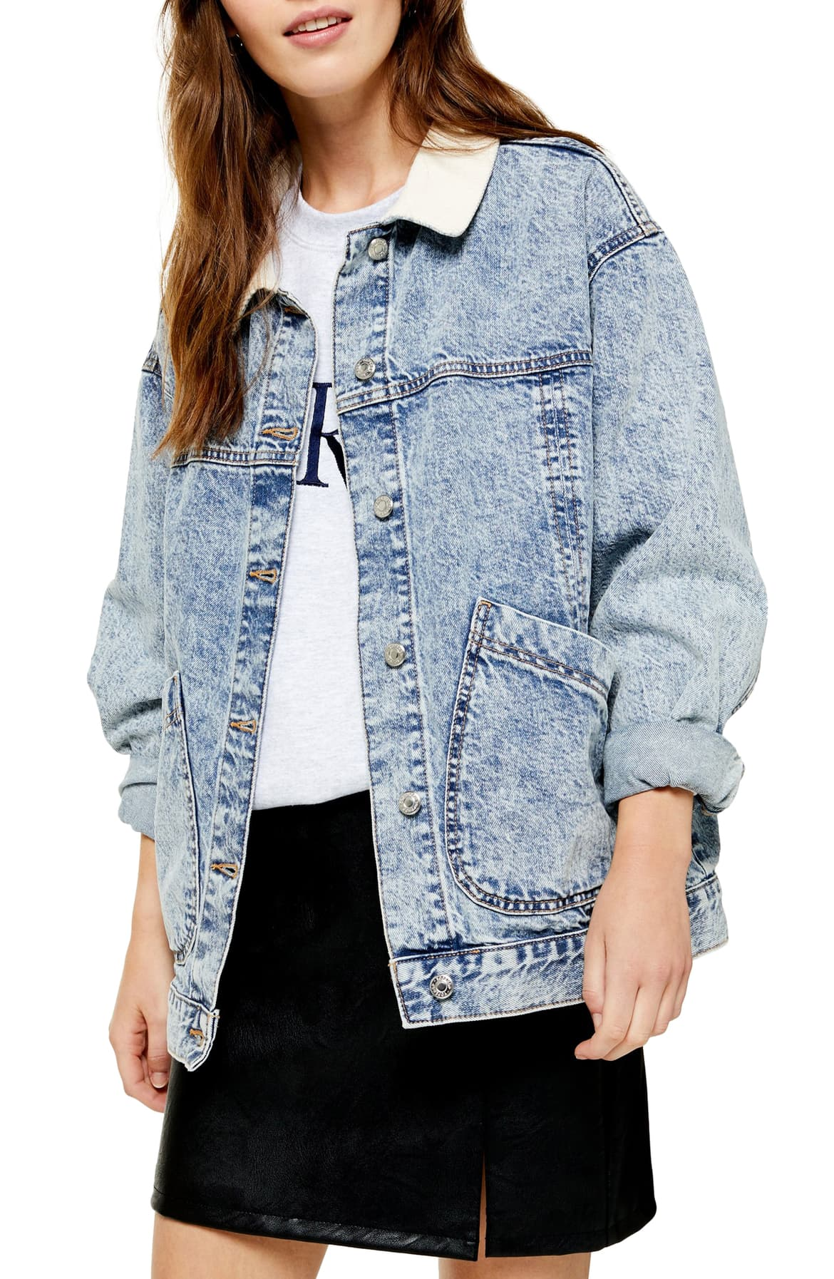 A cool acid-wash jacket is updated with a contrasting cord collar and handy patch pockets. I'd wear it. $80 (Image: Nordstrom)