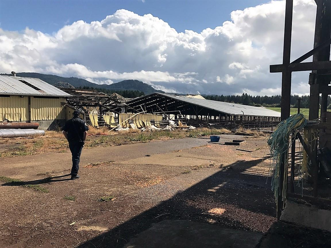 Two barns were destroyed and two others were heavily damaged during a weather event in Lacomb, Oregon on Tuesday afternoon, Sept. 19, 2017. (Photo: Lebanon Fire District)