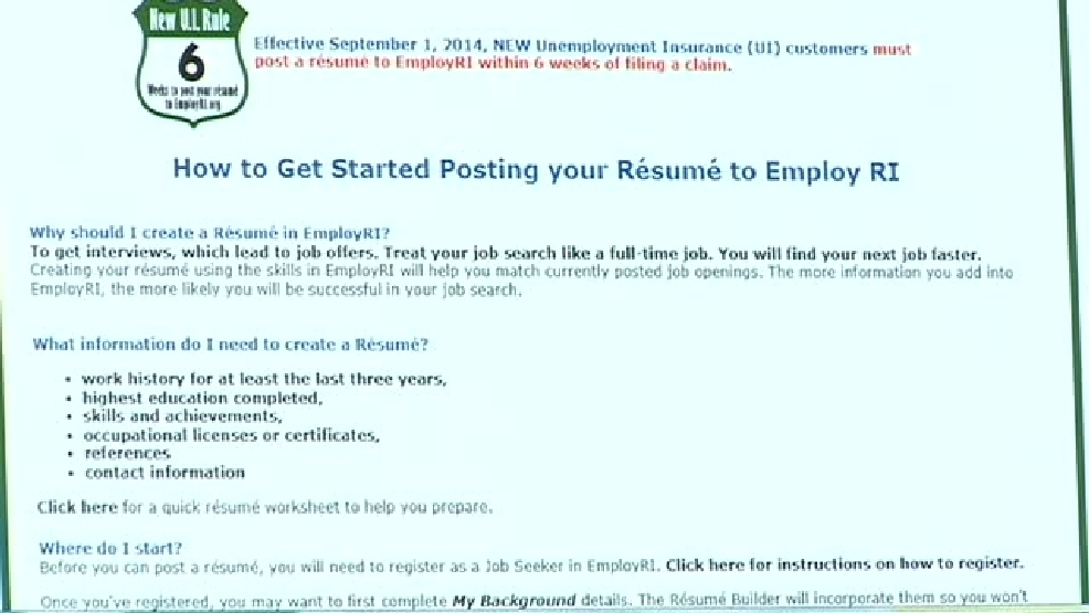 unemployed must now post resumes on site wjar