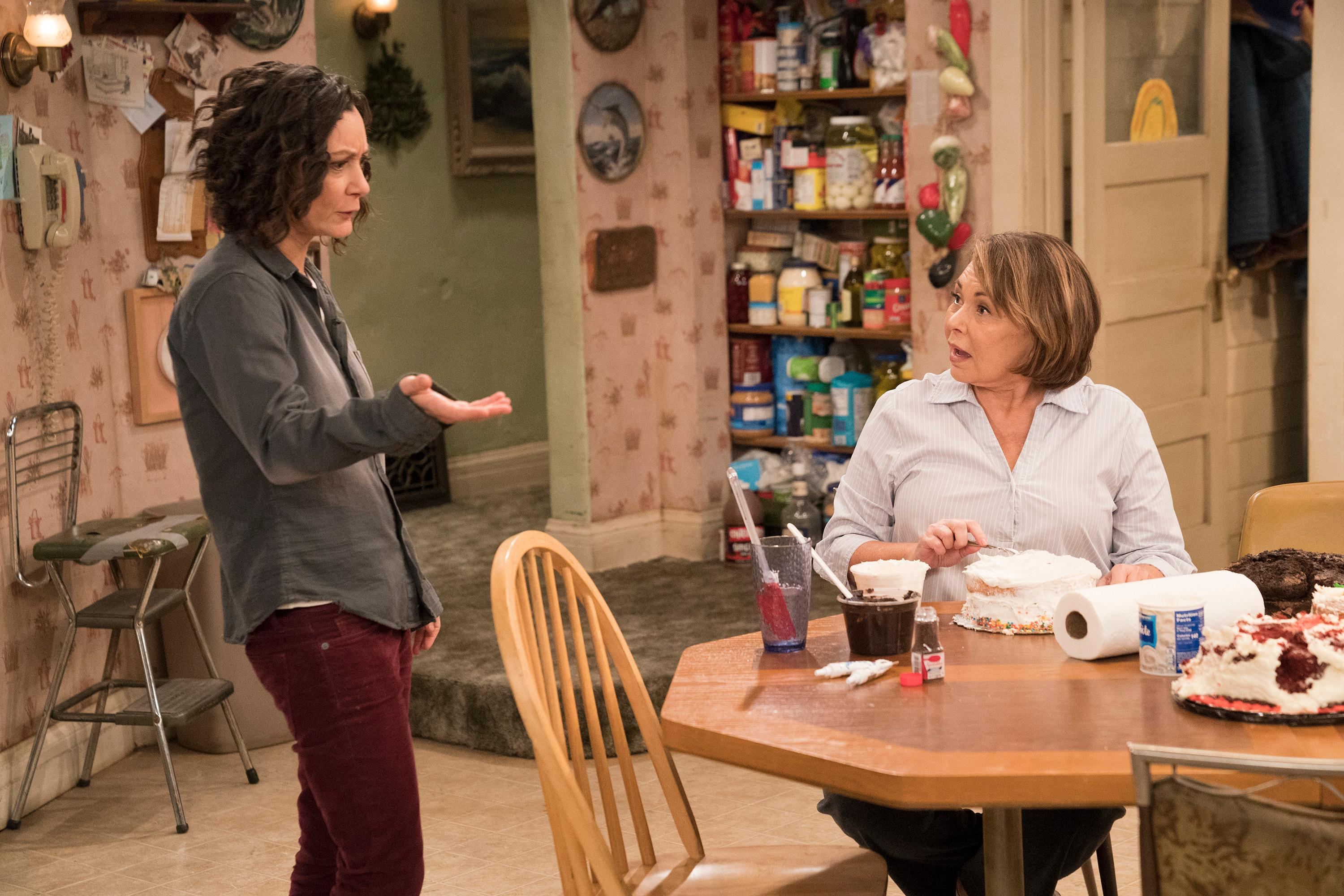 "This image released by ABC shows Sara Gilbert, left, and Roseanne Barr in a scene from ""Roseanne."" The unprecedented sudden cancellation of TV's top comedy has left a wave of unemployment and uncertainty in its wake. Barr's racist tweet and the almost immediate axing of her show put hundreds of people out of work. (Greg Gayne/ABC via AP)"