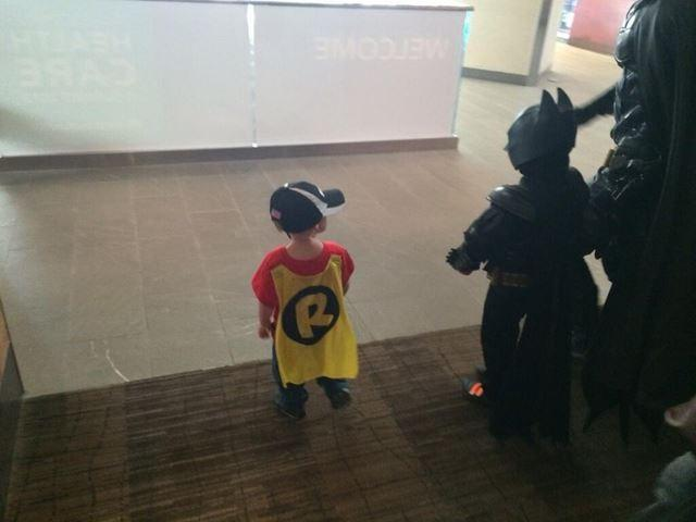 No Batkid is complete without his Robin! This is his younger brother.