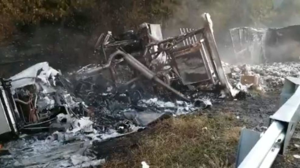 Tractor trailer carrying pharmaceuticals overturns, catches