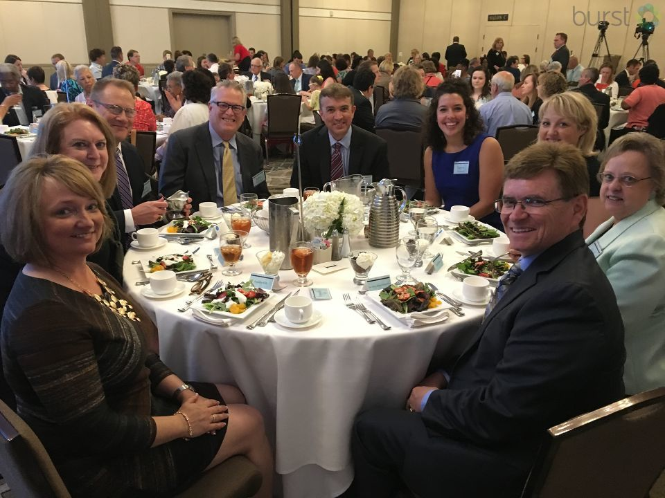 District 186 Superintendent Jennifer Gill, Horace Mann CEO Martina Zuraitis, Layne Zimmers, Springfield Mayor Jim Langfelder at the Educator of the Year awards lunch. (Photojournalist Shawn Shanle)