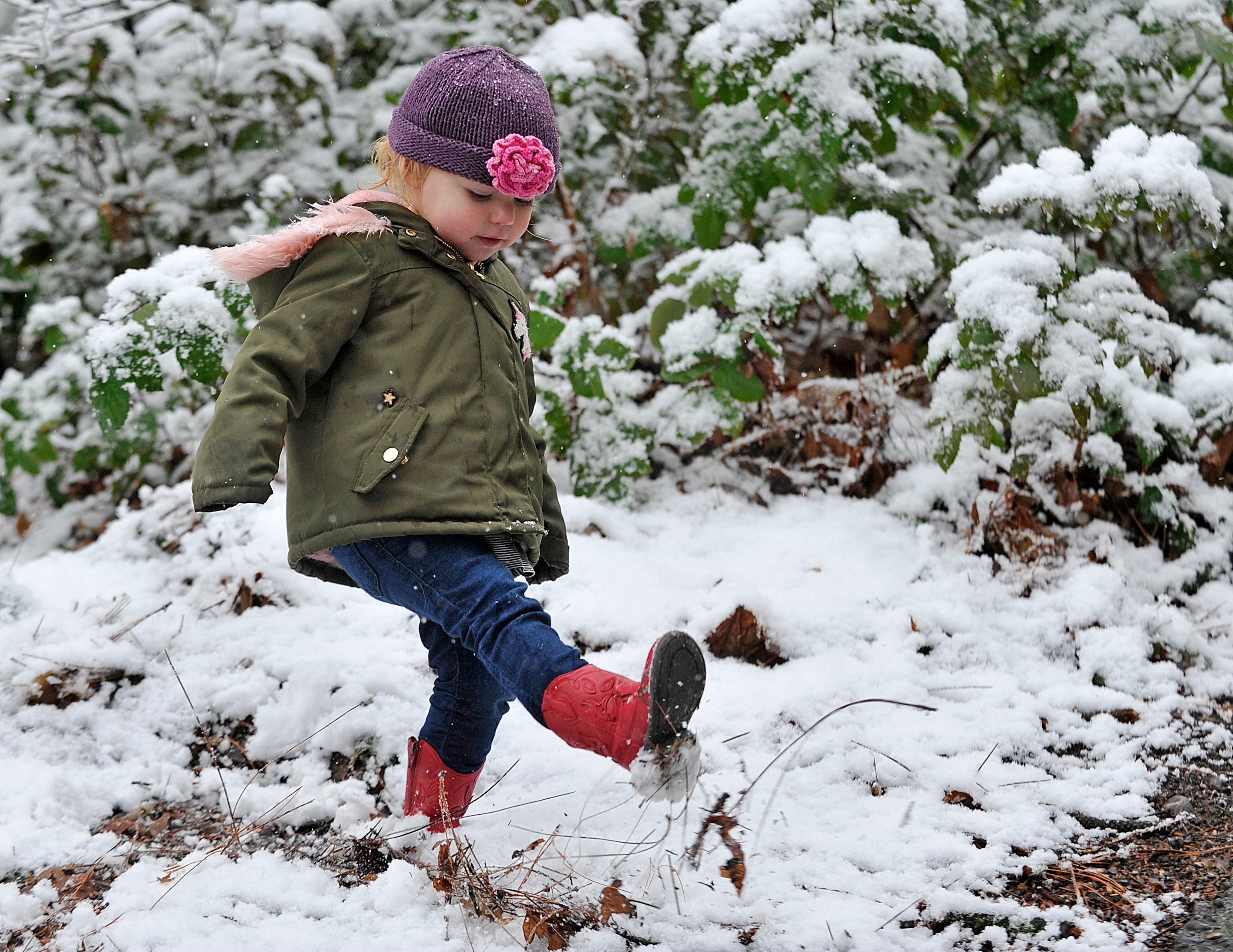 Nahla Belle, 2, of Portland, plays in the snow at Lithia Park on Monday. Jamie Lusch / Ashland Tidings