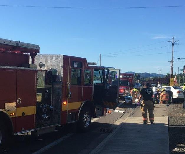 A two-vehicle crash occurred at NE Stephens & Timberlake Avenue in Roseburg, June 11, 2018. (Photo courtesy Roseburg Fire Department)