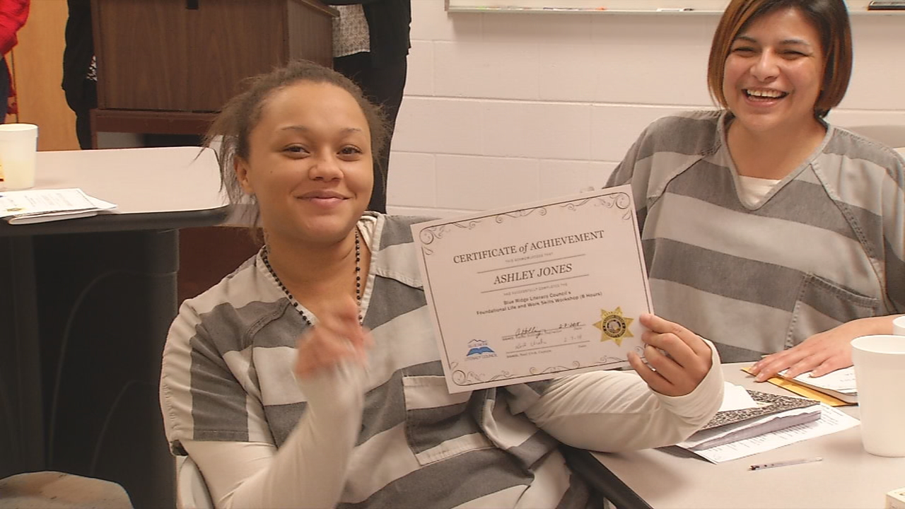 Six Henderson County inmates  became the first to graduate from a life skills training program, an eight-week course that focuses on teaching inmates important life and work skills. (Photo credit: WLOS staff)