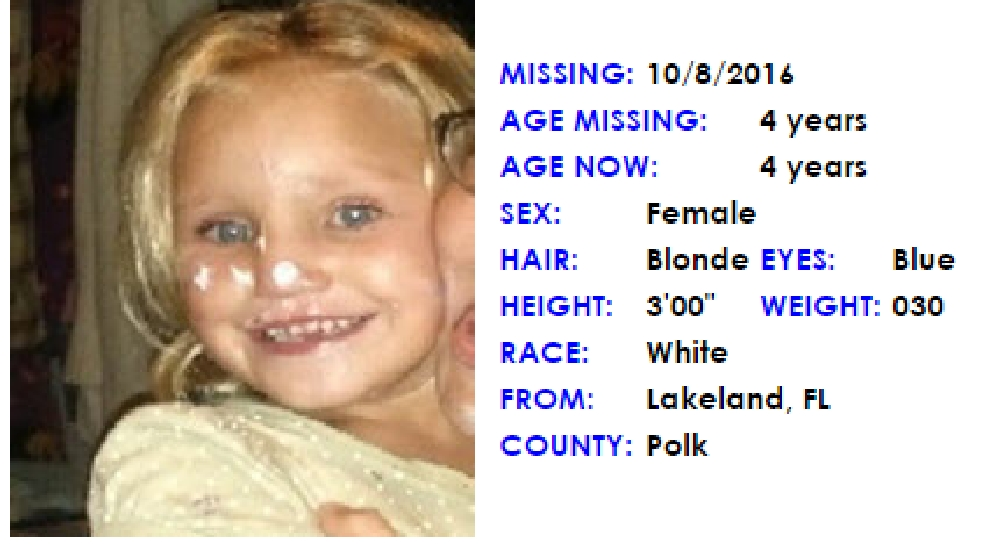 Amber Alert Issued For Four Year Old Florida Girl Wear