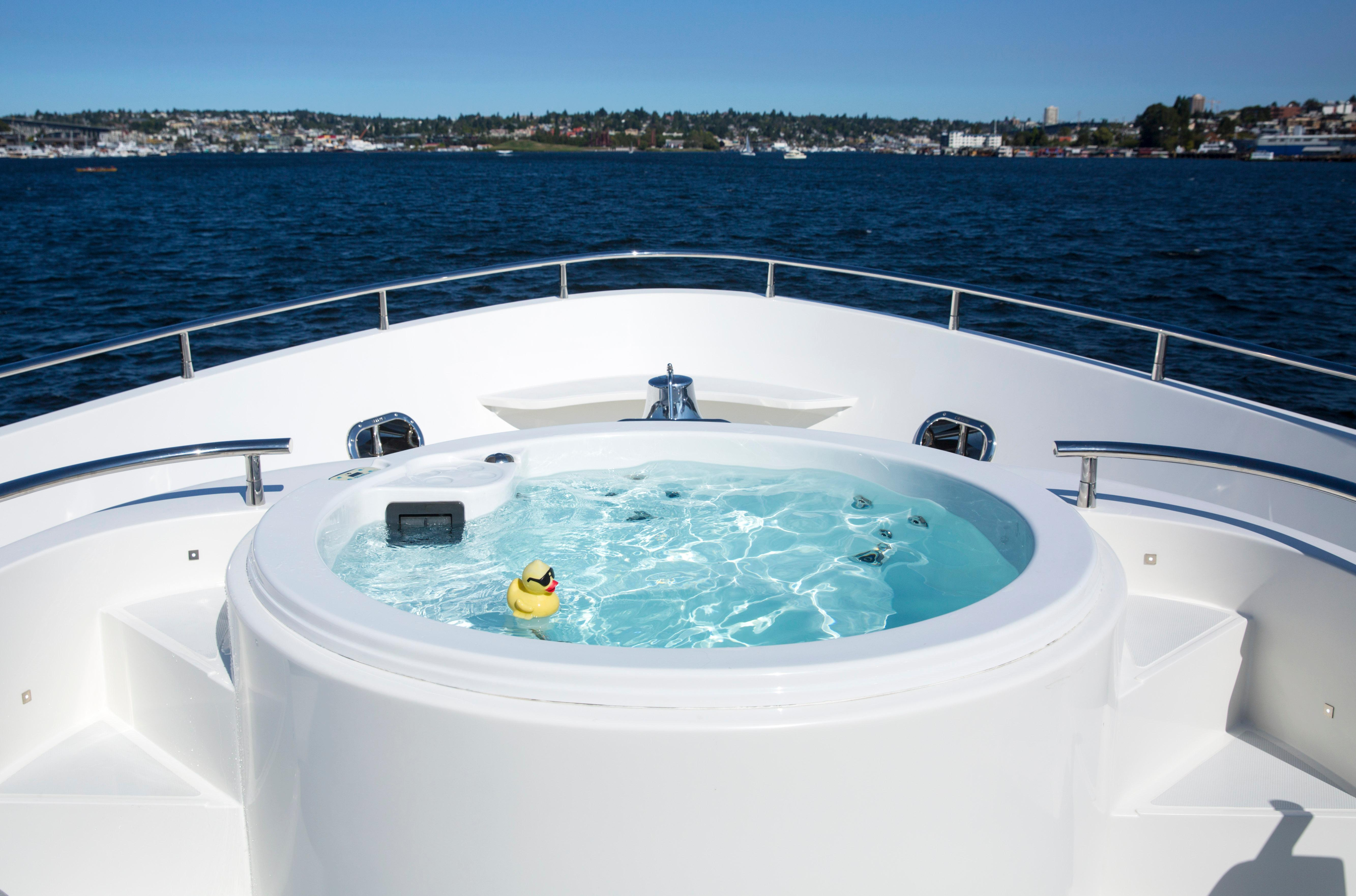 We took a tour aboard the most expensive boat we could find at the 2017 Boats Afloat Show on South Lake Union. The recently built, 92' Selene comes with a price tag of $6 million, and boasts six bedrooms, six bathrooms, a hot tub, and two diesel engines that will take you all the way to Hawaii on one tank of gas. Other features include a living room with a disappearing TV, and a boat deck fitted with two smaller watercraft. (Sy Bean / Seattle Refined)