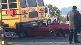Car strikes Socorro ISD school bus along Rojas Drive