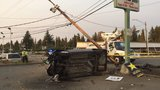 Suspected DUI driver arrested after crashing into power pole in Everett