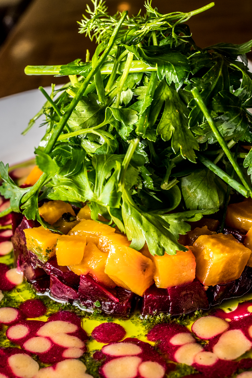Roasted Beet Salad: Danish Bleu, herb salad, almonds, beet vinaigrette / Image: Catherine Viox // Published: 1.23.20