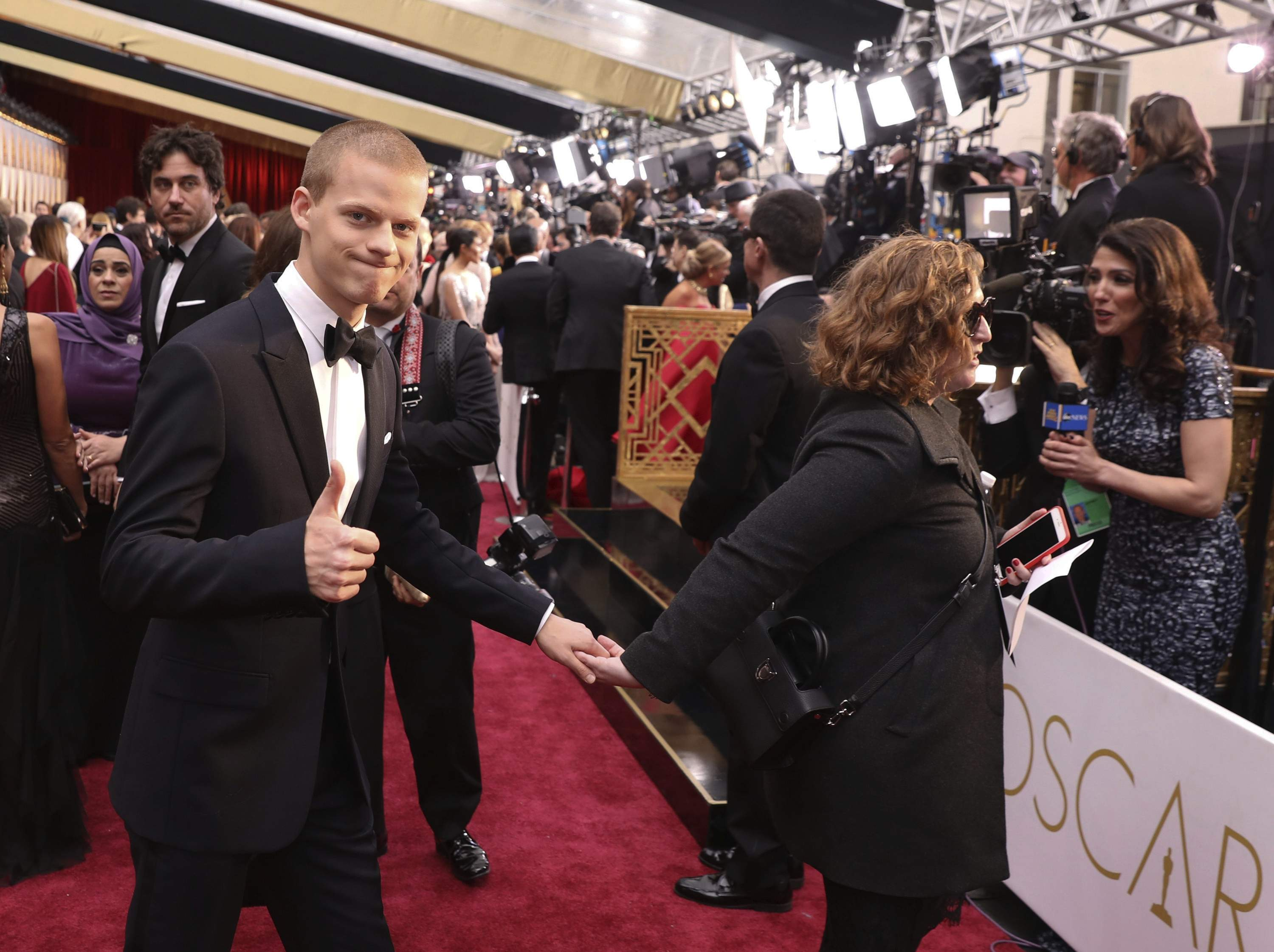 Lucas Hedges arrives at the Oscars on Sunday, Feb. 26, 2017, at the Dolby Theatre in Los Angeles. THE ASSOCIATED PRESS