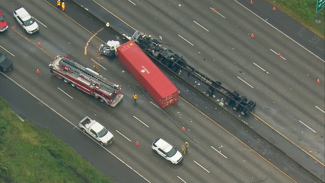 Tacoma semi-truck crash (KOMO Photo)