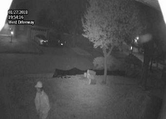 Surveillance footage shows a man that on Jan. 27 stole security cameras from a northwest Oklahoma City home. (Oklahoma City Police Department)