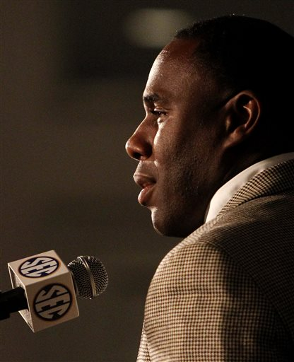 Vanderbilt Coach Derek Mason speaks to media at SEC media days on Monday, July 14, 2014, in Hoover, Ala.