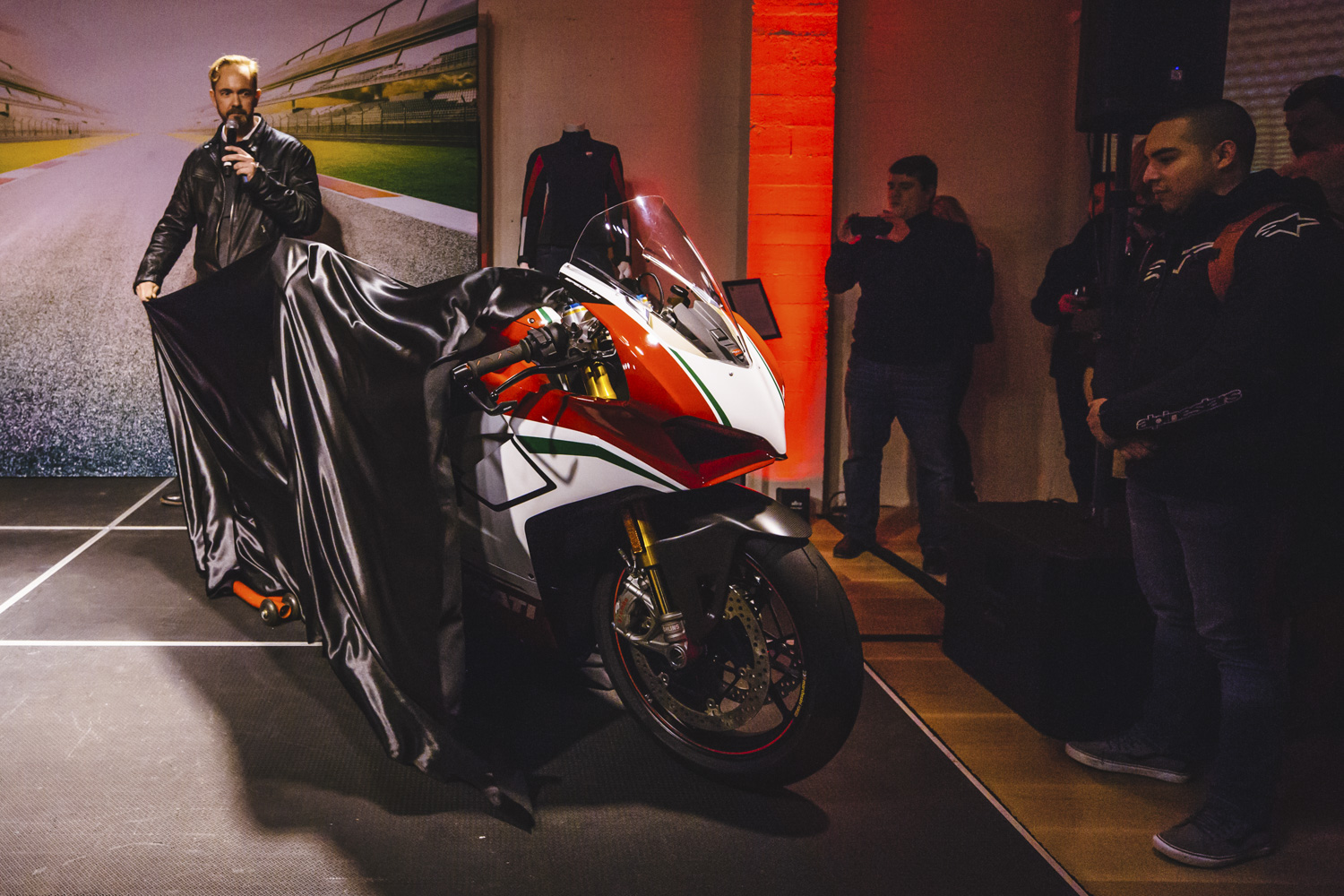 "Last week, the Ducati North America's ""More Than Red"" tour made a pit stop in Seattle. They were debuting their new 2018 line which featured the new Panigale V4. The Panigale V4 is the company's first four-cylinder mass production superbike and the Scrambler 1100 was presented for the first time in the market. Other bikes on display were the Multistrada 1260 and Enduro Pro, Monster 821 and XDiavel in Iceberg White. (Image: Sunita Martini / Seattle Refined)"