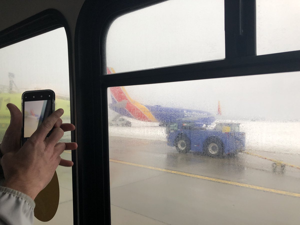 A Southwest flight from Las Vegas to Omaha slid off the runway after landing at Eppley Airfield on Friday, Jan. 19, 2019. (Photo courtesy Michael Rittershaus)