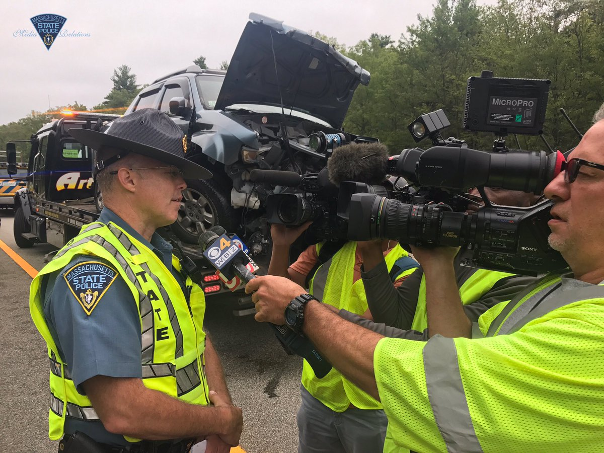 Lt. Stephen Marsh gives update to media at Hopkinton, Mass., fatal crash scene. (Massachusetts State Police)