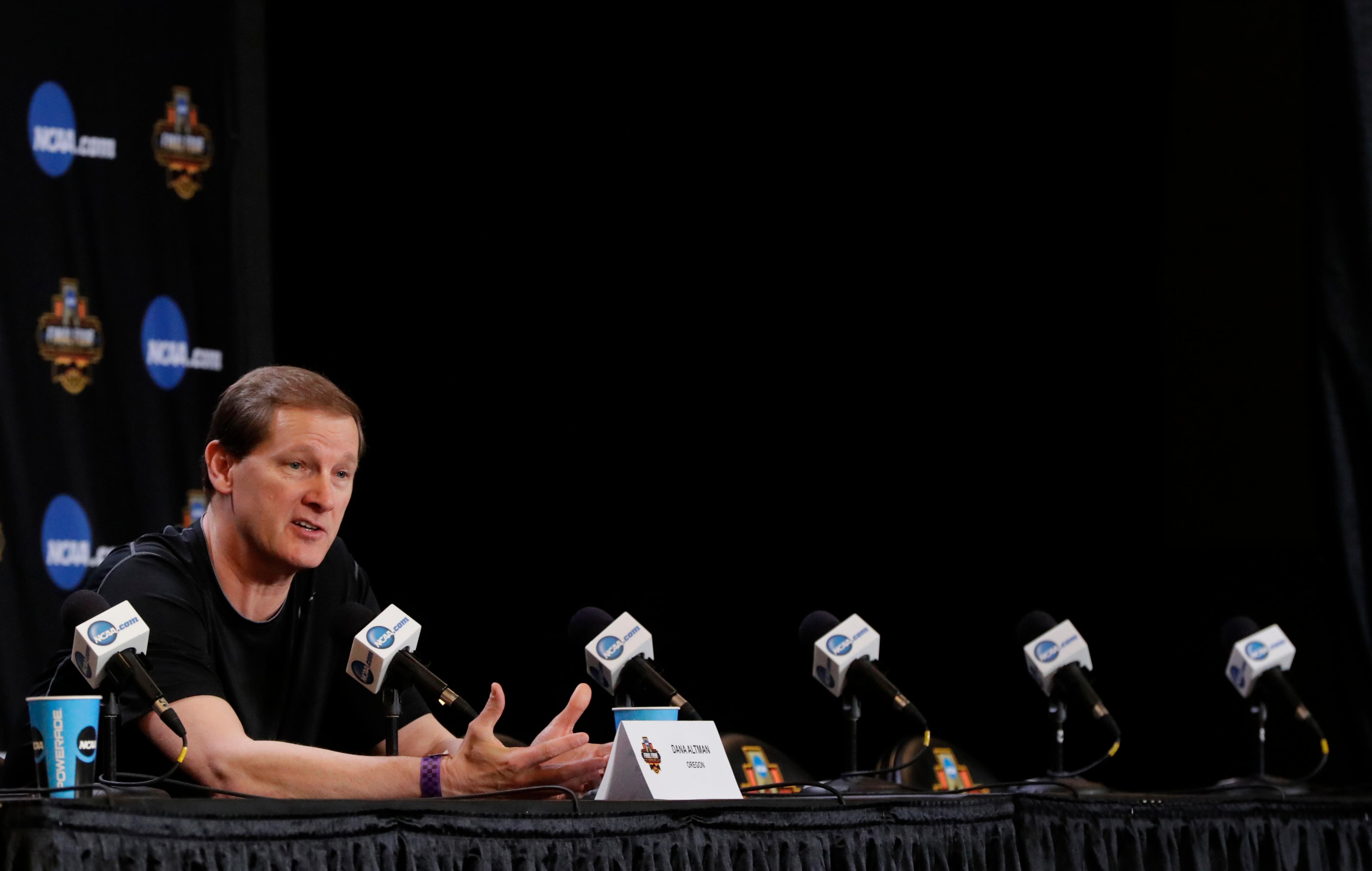 Oregon head coach Dana Altman answers questions after a practice session for their NCAA Final Four tournament college basketball semifinal game Thursday, March 30, 2017, in Glendale, Ariz. (AP Photo/Matt York)