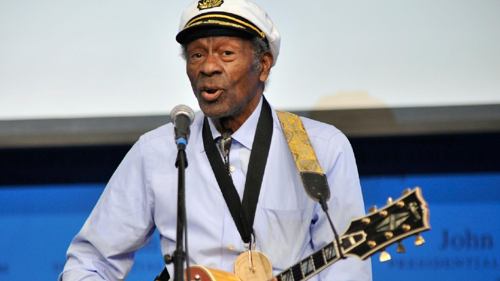 "In this Feb. 26, 2012 file photo, rock 'n' roll legend Chuck Berry performs ""Johnny B. Goode"" at the John F. Kennedy Presidential Library and Museum in Boston. Berry is set to release his first new studio album in more than 35 years. The album, titled ""Chuck,"" will be available in 2017. (AP Photo/Josh Reynolds, File)"
