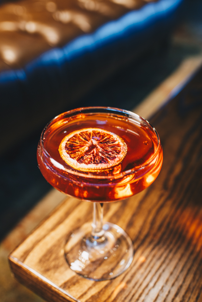 Boulevardier of Broken Dreams: New Riff Bourbon or Rye, Cocchi sweet vermouth, Campari, orange bitters, and garnished with dehydrated blood orange / Image: Catherine Viox // Published: 3.25.19