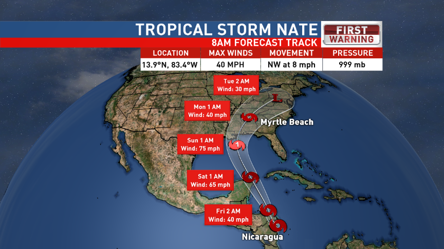 Tropical Storm Nate Track