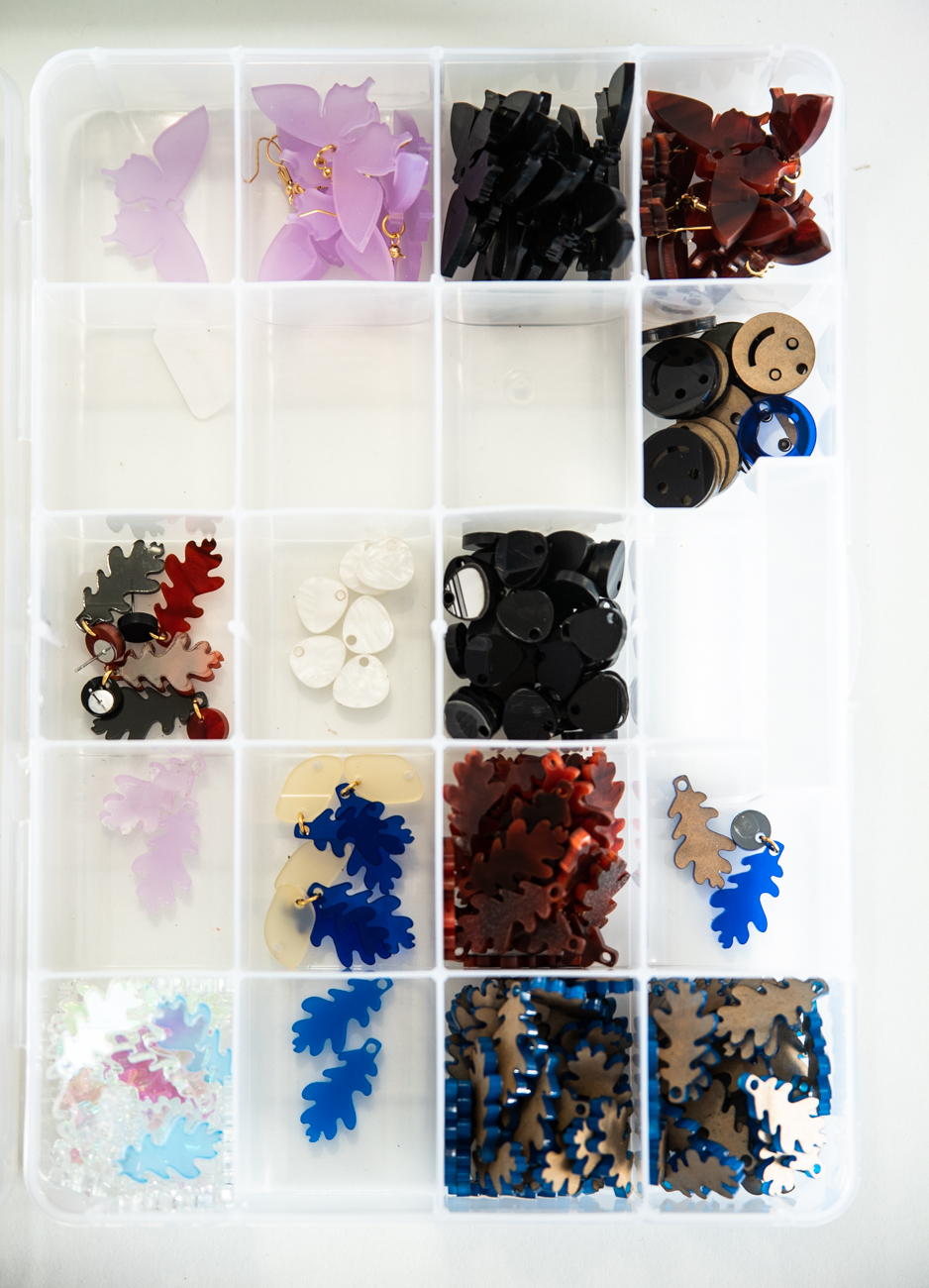 A collection of laser-cut acrylic shapes, ready to be fashioned into Ellebrux earrings / Image: Melissa Sliney // Published: 3.26.20  <p></p>