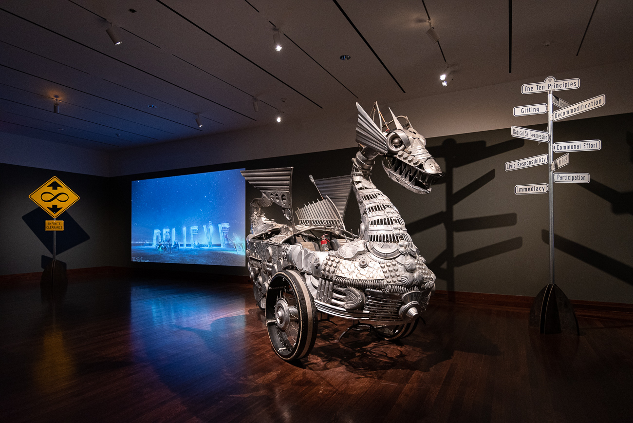 Pictured: Tin Pan Dragon (2008) / No Spectators: The Art of Burning Man, while still smoldering from its hot feature in DC's prestigious Renwick Gallery, spreads its colorful tendrils throughout two floors of the Cincinnati Art Museum from now until September 2, 2019. CAM is the only museum in the entire Midwest that's planned to receive the show, attracting spectators (despite its title) from peer cities around the country. Burning Man is a contemporary art show that gathers in the desert outside Reno, Nevada once a year. The exhibit, which pulls art from Burning Man, puts installations in various galleries throughout the museum to encourage exploration. / Image: Phil Armstrong, Cincinnati Refined // Published: 6.21.19