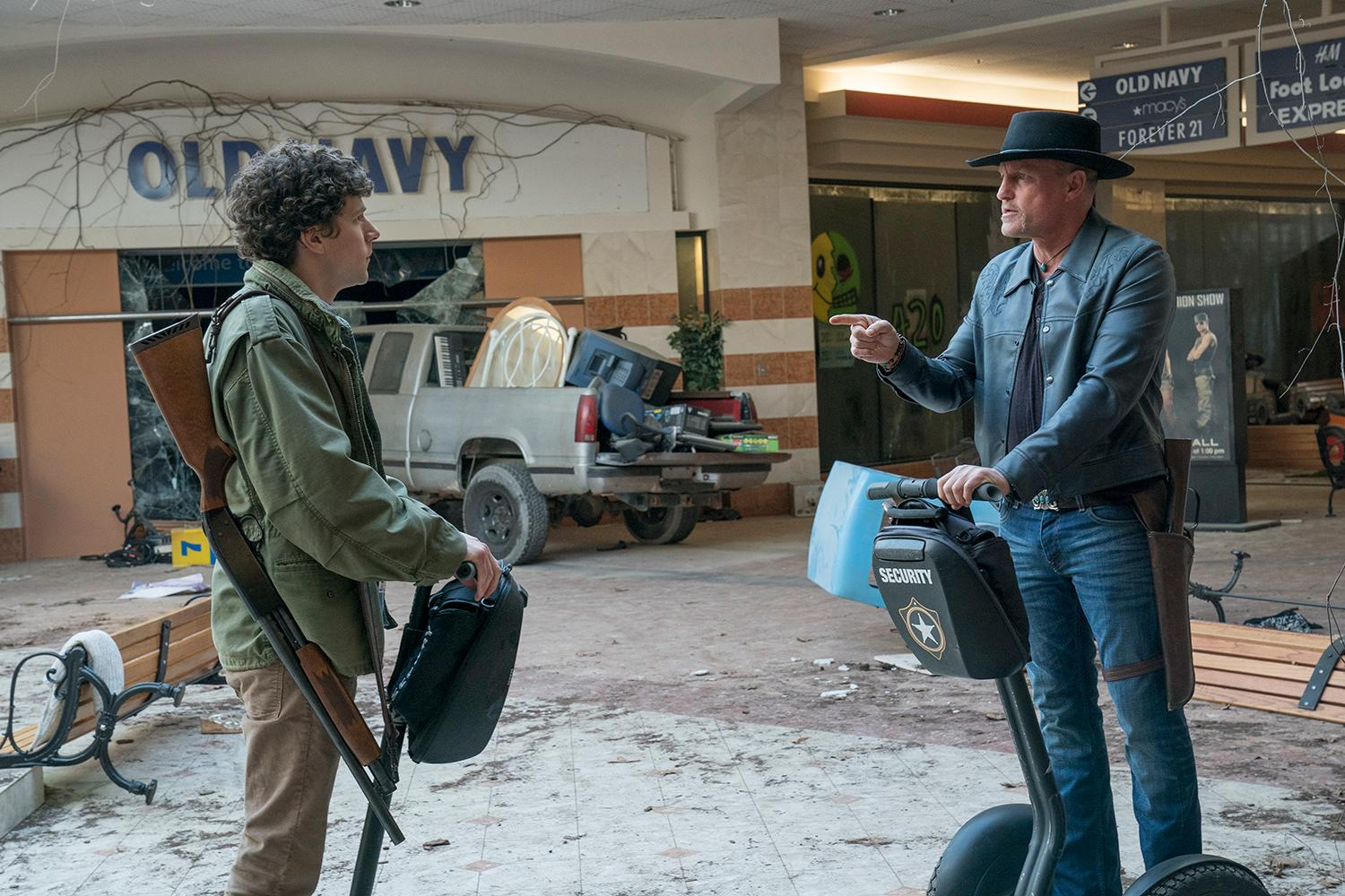 Columbus (Jesse Eisenberg) and Tallahasse (Woody Harrelson) in Columbia Pictures' ZOMBIELAND: DOUBLE TAP. (Credit: Jessica Miglio / Columbia Pictures)