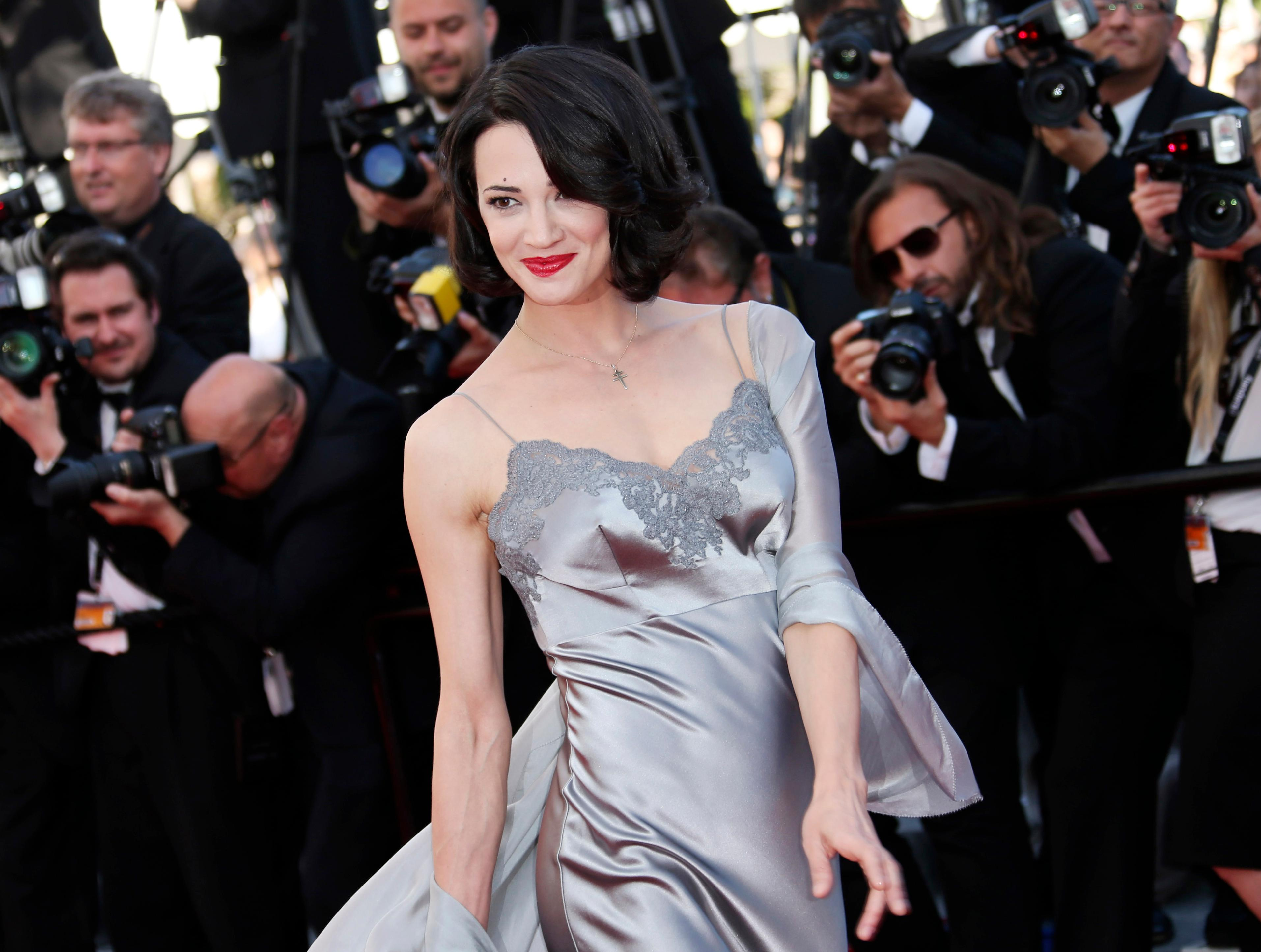 FILE - In this May 26, 2013 file photo, actress Asia Argento arrives for the awards ceremony of the 66th international film festival, in Cannes, southern France. (Photo by Joel Ryan/Invision/AP, File)