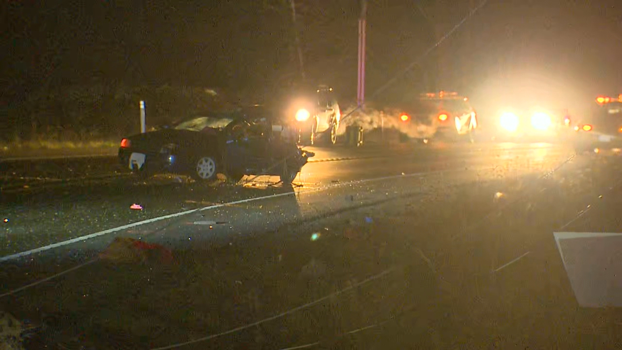 Two people were killed overnight near Enumclaw in a two-vehicle crash on State Route 164. (Photo credit: Steven Miller / KOMO News)