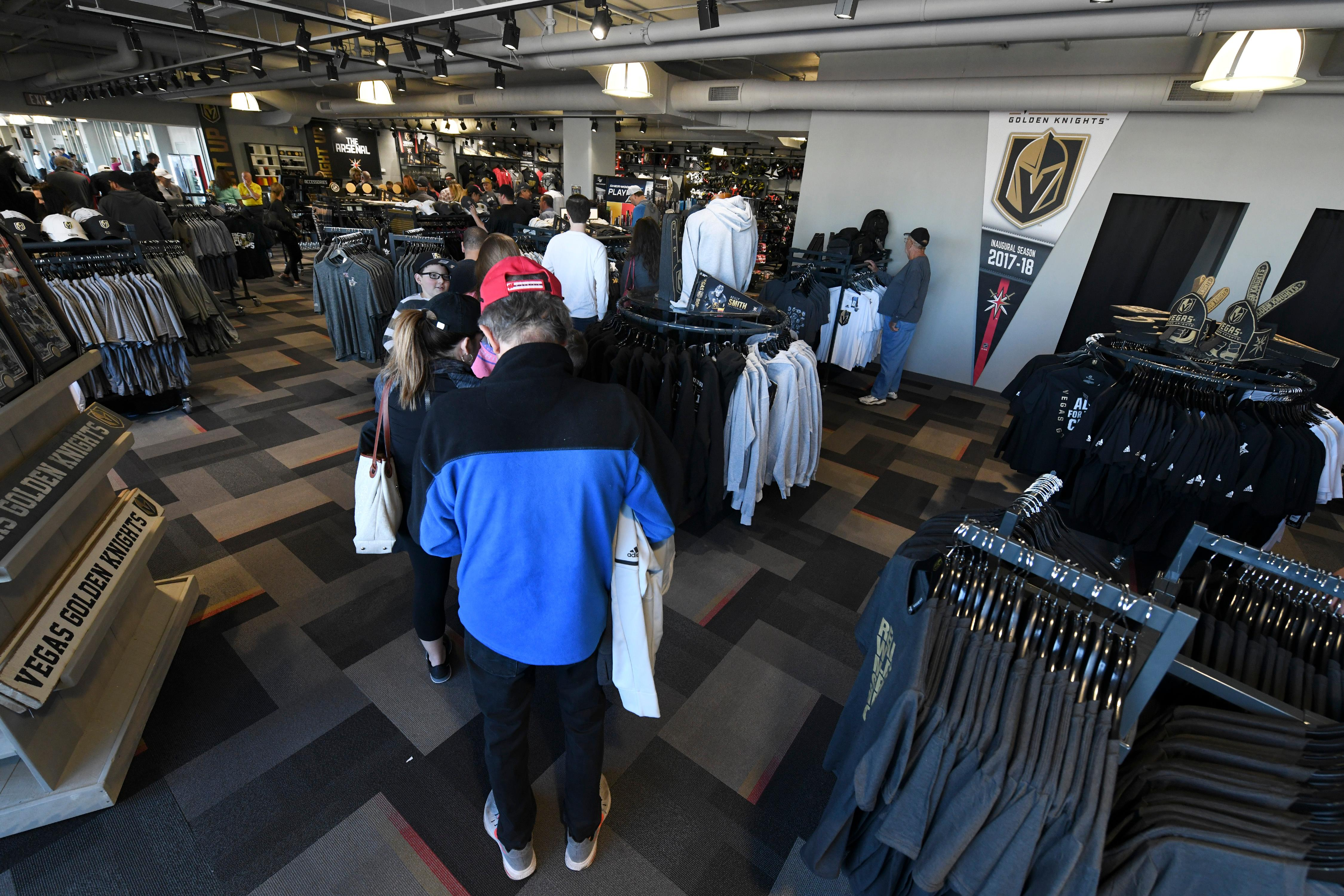 A long line of fans snakes through The Arsenal, the Vegas Golden Knights gift shop, as they wait to purchase items Friday, April 20, 2018, at City National Arena in Las Vegas. CREDIT: Sam Morris/Las Vegas News Bureau