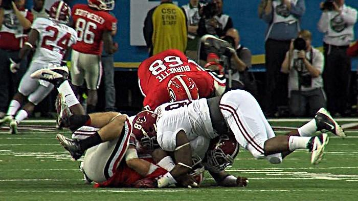 Alabama's Xavier Dickson and Jeoffrey Pagan sack Georgia's Aaron Murray in the first half of the 2012 SEC Championship in Atlanta on Saturday, December 1, 2012..
