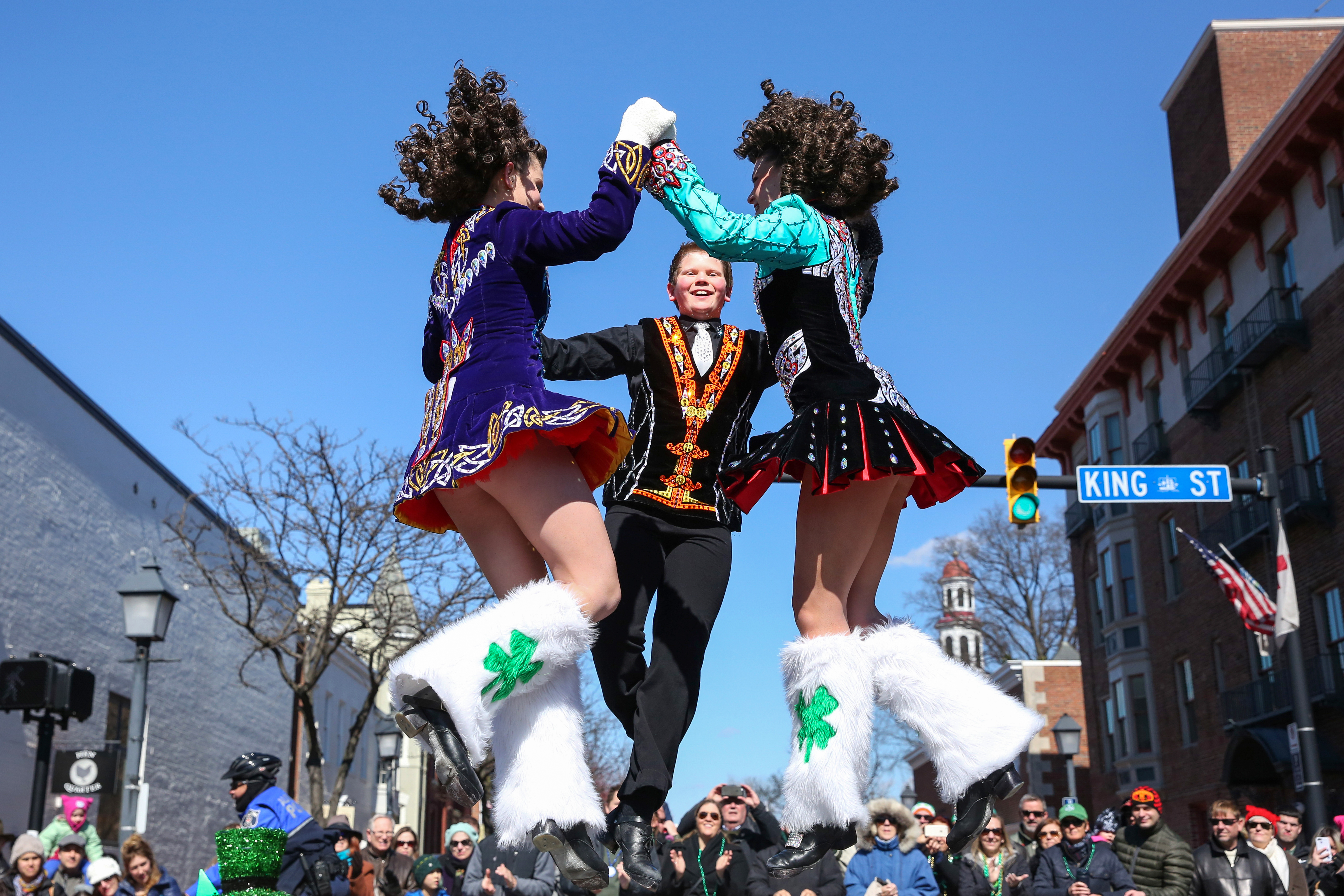 March, 2017. Irish dancers do a step at the Alexandria St. Patrick's Day parade.{&amp;nbsp;} (Amanda Andrade-Rhoades/DC Refined)<p></p>