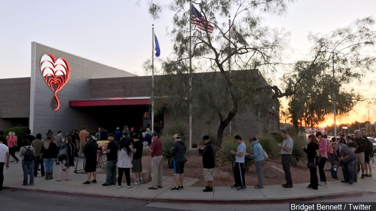 People waiting to donate blood at United Blood Services., Photo Date: October 2, 2017{ }Bridget Bennett / Twitter via MGN Online
