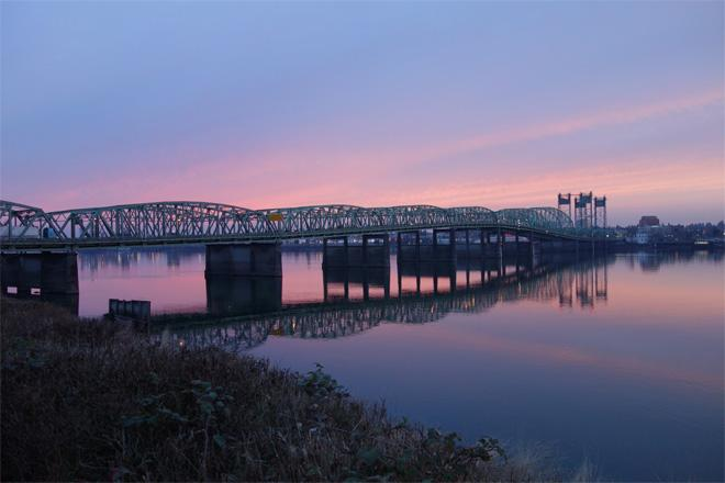 Portland Sunset over Interstate Bridge - (Photo: YouNews contributor: gooch)