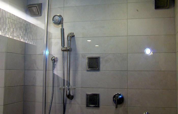 Shower inside a room at the new Westin Hotel in downtown Birmingham, Alabama.